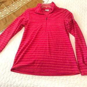 Columbia Pink Fleece Pullover with Front Zip NWOT